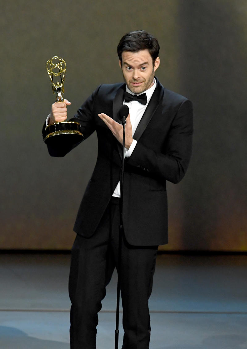 LOS ANGELES, CA - SEPTEMBER 17:  Bill Hader accepts the Outstanding Lead Actor in a Comedy Series award for 'Barry' onstage during the 70th Emmy Awards at Microsoft Theater on September 17, 2018 in Los Angeles, California.  (Photo by Kevin Winter/Getty Images)