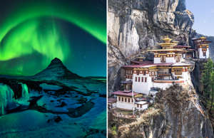 TITLE: Freezing Kirkjufell and Aurora Storm ; CAPTION: Taktshang Goemba or Tiger's nest Temple or Tiger's nest monastery the beautiful buddhist temple.The most sacred place in Bhutan is located on the high cliff mountain with sky of Paro valley, Bhutan.
