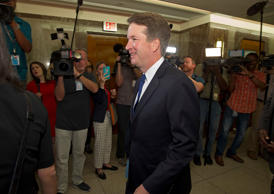 Supreme Court nominee Judge Brett Kavanaugh arrives at Sen. Susan Collins, R-Maine, office, for a private meeting on Capitol Hill in Washington on Tuesday, Aug. 21, 2018. (AP Photo/Jose Luis Magana)