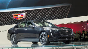 a car parked on the side of a road: 2019 Cadillac CT6 V-Sport at the 2018 New York Auto Show