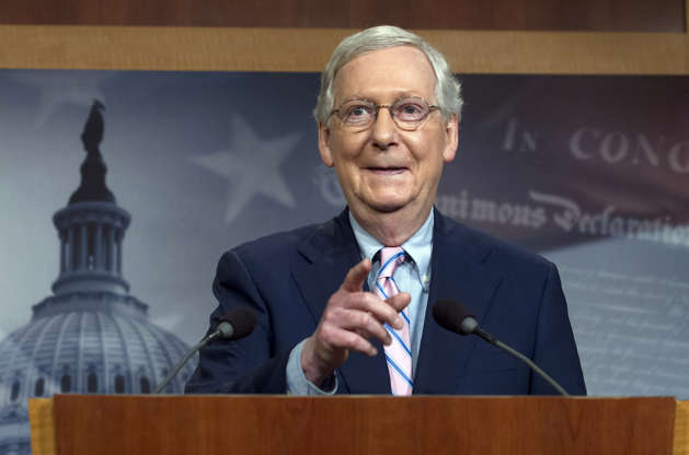Slide 2 of 90: Senate Majority Leader Mitch McConnell, R-KY, speaks during a news conference following the confirmation vote of Supreme Court nominee Brett Kavanaugh on Capitol Hill in Washington DC, on October 6, 2018.