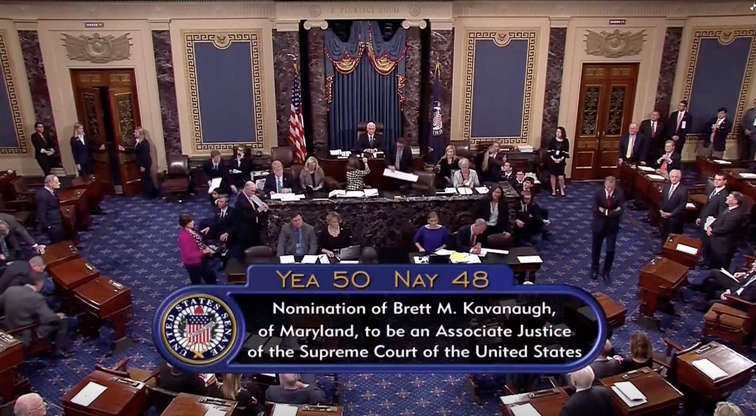 Slide 4 of 90: A still image taken from video of the final tally of votes by the U.S. Senate on the confirmation of Supreme Court nominee Judge Brett Kavanaugh, in Washington, U.S., October 6, 2018.   Senate TV via REUTERS