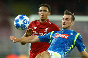 Trent Alexander-Arnold of Liverpool and Fabian Ruiz of Napoli at San Paolo Stadium