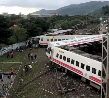 An overturned train is seen in Yilan County, Taiwan October 21, 2018 in this picture grab obtained from social media video.