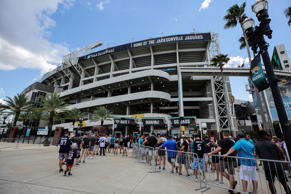 JACKSONVILLE, FL - SEPTEMBER 16: Fans wait outside the stadium prior to the game between the New England Patriots and the Jacksonville Jaguars on September 16, 2018 at TIAA Bank Field in Jacksonville, Fl. (Photo by David Rosenblum/Icon Sportswire via Getty Images)