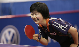 SHANGHAI, CHINA - APRIL 29: (CHINA OUT) Ai Fukuhara of Japan takes part in training for the 48th World Table Tennis Championships at Shanghai Stadium on April 29, 2005 in Shanghai, China. The 48th World Table Tennis Championships will be opened on April 30 in Shanghai.  (Photo by China Photos/Getty Images)