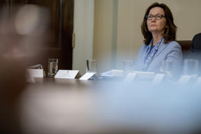 CIA Director Gina Haspel, center, attends a cabinet meeting in the Cabinet Room of the White House, Thursday, Aug. 16, 2018, in Washington.
