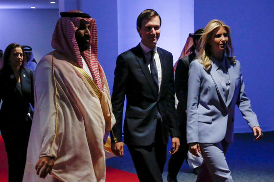 Saudi Arabia's Deputy Crown Prince Mohammed bin Salman escorts White House senior advisor Jared Kushner and his wife White House senior advisor Ivanka Trump at the Global Center for Combatting Extremist Ideology in Riyadh, Saudi Arabia May 21, 2017. Picture taken May 21, 2017. REUTERS/Jonathan Ernst