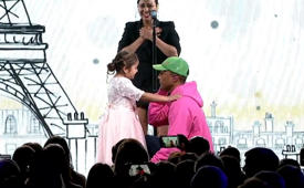 Children's Hospital patient steals show – and Pharrell's heart – at gala