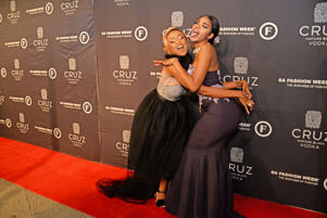 Nomuzi Mabena & Blue Mbombo during the Official SA Fashion Week Opening Party in association with Cruz Vodka at The Mark on October 22, 2018 in Sandton, South Africa.