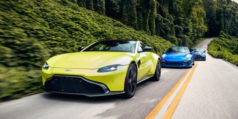 We head to Kentucky with a trio of 500-hp troublemakers to determine how the Aston Martin Vantage squares up against the Mercedes-AMG GT and Porsche 911 GT3.