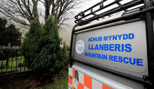 A vehicle parked outside the Llanberis Mountain Rescue station in the Snowdonia mountain range in north Wales