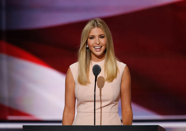 Slide 1 of 18: CAPTION: Ivanka Trump speaks during the final night of the 2016 Republican National Convention in Cleveland, Ohion July 21, 2016. (Photo by Carolyn Cole/Los Angeles Times via Getty Images)