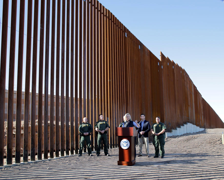 U.S. Department of Homeland Security Secretary Kirstjen Nielsen speaks during a visit to U.S. President Donald Trump's border wall in the El Centro Sector in Calexico, California, U.S. October 26, 2018. REUTERS/Earnie Grafton TPX IMAGES OF THE DAY