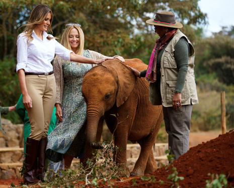 Slide 1 of 38: First lady Melania Trump with Margaret Kenyatta, Kenya's first lady, pets a baby elephant the at David Sheldrick Elephant & Rhino Orphanage at Nairobi National Park in Nairobi, Kenya, Friday, Oct. 5, 2018. First lady Melania Trump is visiting Africa on her first big solo international trip.