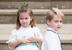 WINDSOR, ENGLAND - OCTOBER 12:  Princess Charlotte of Cambridge and Prince George of Cambridge attend the wedding of Princess Eugenie of York and Jack Brooksbank at St. George's Chapel on October 12, 2018 in Windsor, England.  (Photo by Pool/Samir Hussein/WireImage)