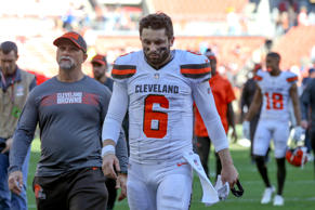 CLEVELAND, OH - OCTOBER 14: Cleveland Browns quarterback Baker Mayfield (6) leaves the field following the National Football League game between the Los Angeles Chargers and Cleveland Browns on October 14, 2018, at FirstEnergy Stadium in Cleveland, OH. Los Angeles defeated Cleveland 38-14. (Photo by Frank Jansky/Icon Sportswire via Getty Images)