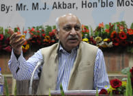 BHOPAL, INDIA - DECEMBER 18: Minister of State for External Affairs MJ Akbar delivering lecture on 'Role of India in the Evolving Golabal Scenario' organised as part of the IAS officers' service meet, on December 18, 2016 in Bhopal, India. (Photo by Mujeeb Faruqui/Hindustan Times via Getty Images)