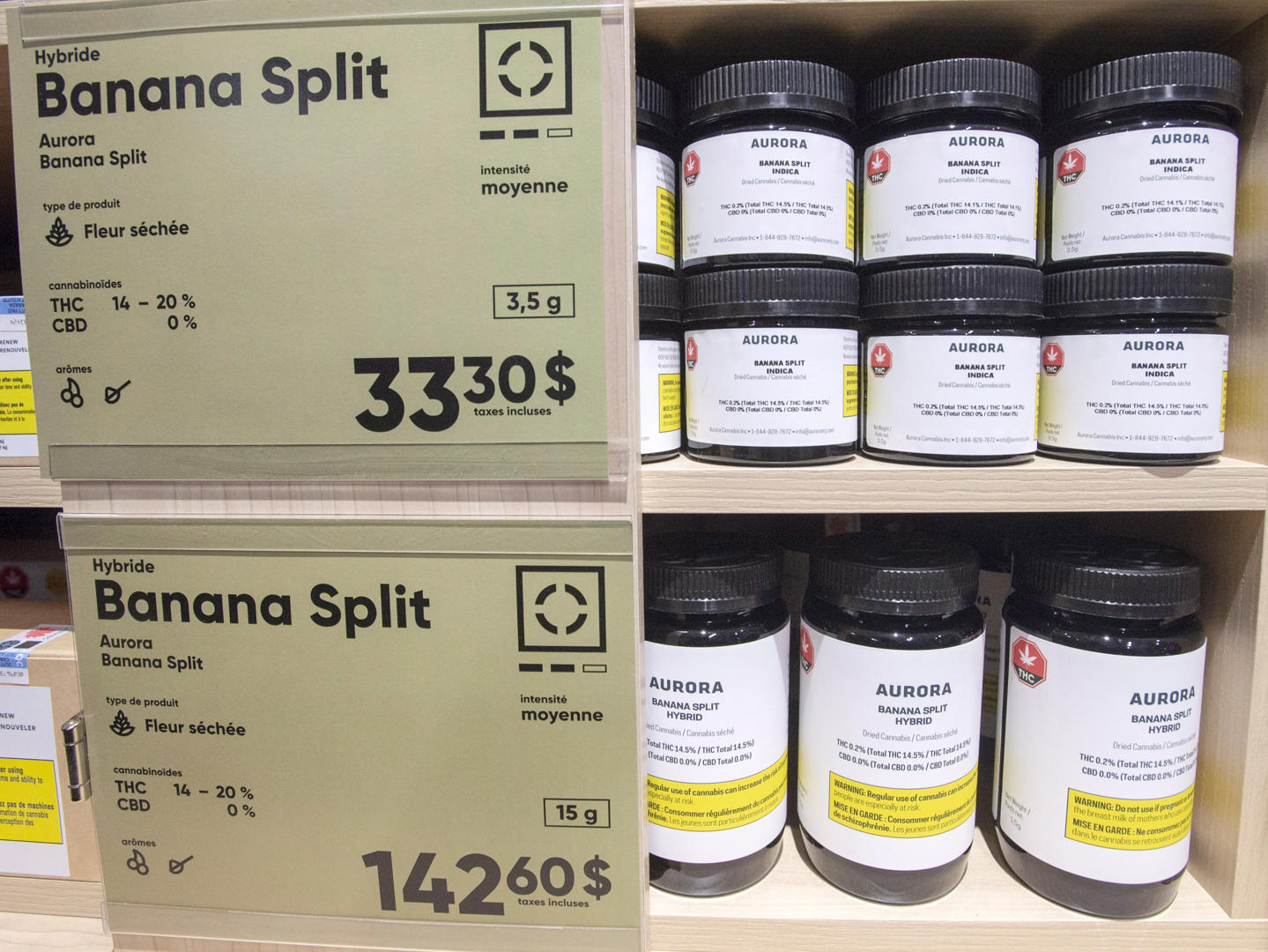 Slide 29 of 31: Cannabis products are seen on the shelves at a new Societe Quebecoise du Cannabis (SQDC) store during a media preview Tuesday, October 16, 2018 in Montreal.