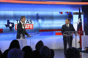 SAN ANTONIO, TX - OCTOBER 15:  U.S. Rep. Beto O'Rourke (D-TX) and U.S. Sen. Ted Cruz (R-TX) face off in a debate at the KENS 5 studios on October 16, 2018 in San Antonio, Texas. A recent poll show Cruz leading O'Rourke 52-45 percent among likely voters.  (Photo by Tom Reel-Pool/Getty Images)