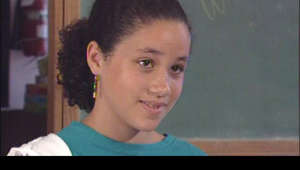 "a screen shot of a person: As a social studies assignment back in elementary school, Meghan Markle and her classmates watched some commercials to assess their messages. A commercial for Ivory Dishwashing Liquid really bothered Meghan because it used the word ""her."" Meghan took matters into her own hands by writing a letter to the soap manufacturer. The company changed the commercial. What Meghan did landed her on the cable show 'Nick News' in 1993."
