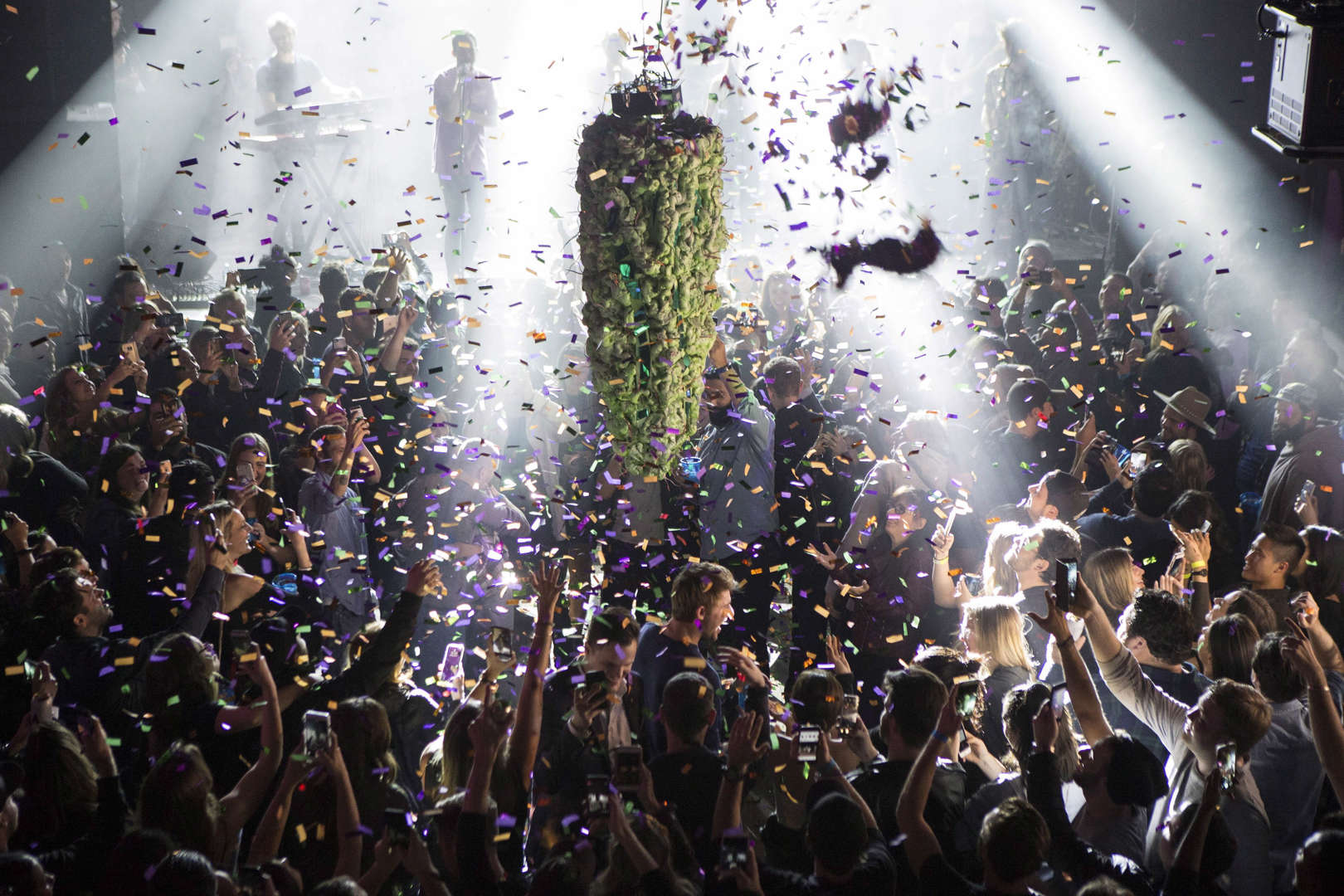 Slide 7 of 31: A depiction of a cannabis bud drops from the ceiling at Leafly's countdown party in Toronto on Wednesday October 17, 2018, as midnight passes and marks the first day legalization of Cannabis across Canada.
