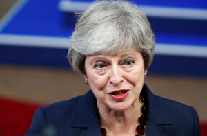 Prime Minister Theresa May speaks at the European Union leaders summit in Brussels