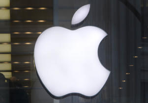 A close up of the logo in the Apple store in Regents Street, London. (Photo by Philip Toscano/PA Images via Getty Images)