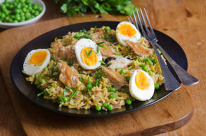 Quick kedgeree with smoked mackerel and herbs