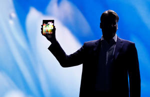 Justin Denison, Samsung Electronics senior vice president of Mobile Product Marketing, speaks during the unveiling of Samsung's new foldable screen smart phone, during the Samsung Developers Conference in San Francisco, California, U.S., November 7, 2018. REUTERS/Stephen Lam