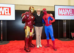 IMAGE DISTRIBUTED FOR HASBRO, INC. -Marvel Comics legend Stan Lee strikes a pose with Iron Man and Spider-Man at HASCON, the first-ever FANmily™ event from Hasbro, Inc. at the Rhode Island Convention Center on Friday, Sept. 8, 2017 in Providence, R.I. (Scott Eisen/AP Images for Hasbro, Inc.)