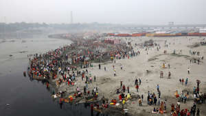 Women perform Chhath Puja at Yamuna river bank
