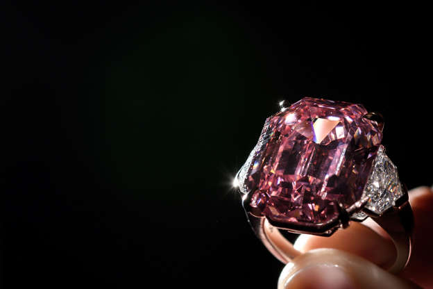 The Pink Legacy, a 18.96 carat fancy vivid pink diamond once owned by Oppenheimer family is displayed on November 8, 2018 during a press preview ahead of sales by Christie's auction house in Geneva. - The auction will take place in Geneva on November 13, 2018. (Photo by Fabrice COFFRINI / AFP) (Photo credit should read FABRICE COFFRINI/AFP/Getty Images)