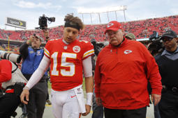 Kansas City Chiefs quarterback Patrick Mahomes (15) walks off the field with head coach Andy Reid after an NFL football game against the Arizona Cardinals, Sunday, Nov. 11, 2018, in Kansas City, Mo. (AP Photo/Charlie Riedel)