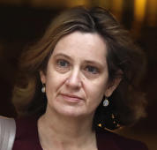 Britain's Home Secretary Amber Rudd leaves 10 Downing Street in London, Wednesday, March 14, 2018.