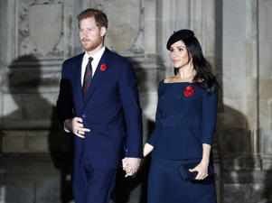 Prince Harry and Meghan, Duchess of Sussex leave Westminster Abbey after attending the Remembrance Sunday ceremony at Westminster Abbey in London, Sunday, Nov. 11, 2018. Remembrance Sunday is held each year to commemorate the service men and women who fought in past military conflicts. 2018 marks the centenary of the armistice and cessation of hostilities in WWI, which ended on the eleventh hour of the eleventh day of the eleventh month. (AP Photo/Alastair Grant)