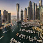 Aerial view of Dubai Marina in the evening.