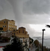 A waterspout is seen in Vietri sul Mare, Italy on Nov. 20, 2018 in this picture grab obtained from social media video.