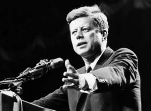 1962: US statesman John F Kennedy, 35th president of the USA, making a speech.