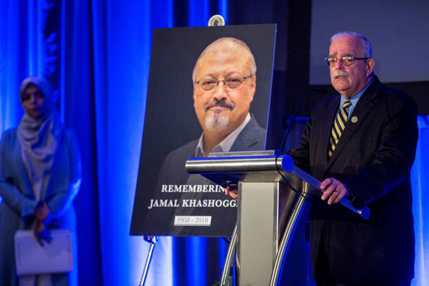 Slide 2 of 80: Rep. Gerry Connolly (D-VA) during a memorial service for Saudi Journalist Jamal Khashoggi at the Mayflower Hotel on November 2, 2018 in Washington, DC. Khashoggi, a U.S. resident and critic of the Saudi regime, was killed after entering the Saudi Arabian consulate in Istanbul on October 2. (Photo by Zach Gibson/Getty Images)