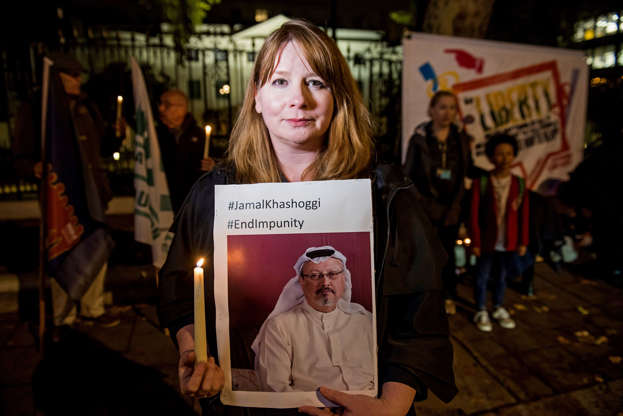 Slide 4 of 80: Photo by Guy Bell/REX/Shutterstock (9955295a) the General Secretary of the NUJ - To remember the assassination of journalist Jamal Khashoggi, and on the eve of the International Day to End Impunity for Crimes against Journalists, the NUJ organised a silent vigil outside the Royal Embassy of Saudi Arabia in Mayfair, London. Jamal Khashoggi vigil at Saudi Embassy, London, UK - 01 Nov 2018