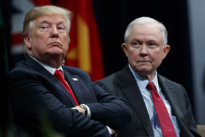 FILE - In this Dec. 15, 2017 file photo, President Donald Trump, left, sits with Attorney General Jeff Sessions during the FBI National Academy graduation ceremony in Quantico, Va. Trump is still roiling about Sessions' decision to recuse himself from the Russia probe, an act of perceived disloyalty. Trump has repeatedly complained about his attorney general and took to Twitter again Wednesday, May 30, 2018, to voice regret about appointing Sessions. (AP Photo/Evan Vucci, File)