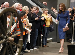 The Duchess of Cambridge during a visit to the IWM London to view letters relating to the three brothers of her great-grandmother, all of whom fought and died in the First World War.