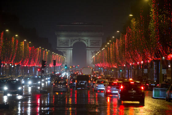 Slide 1 of 82: Christmas Illuminations light the Champs Elysees avenue on November 24, 2018 in Paris.  (Photo by Michel Stoupak/NurPhoto via Getty Images)