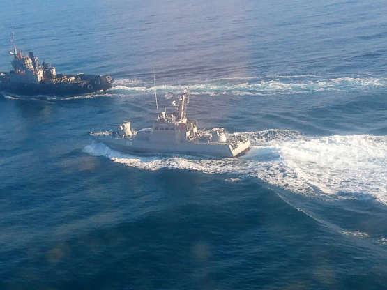 俄罗斯 -  2018年11月25日:乌克兰海军舰船。 三艘乌克兰海军船只非法越过俄罗斯边境并侵入俄罗斯领海。 俄罗斯联邦安全局/ TASS克里米亚分支(照片由TASS \ TASS通过Getty Images提供)