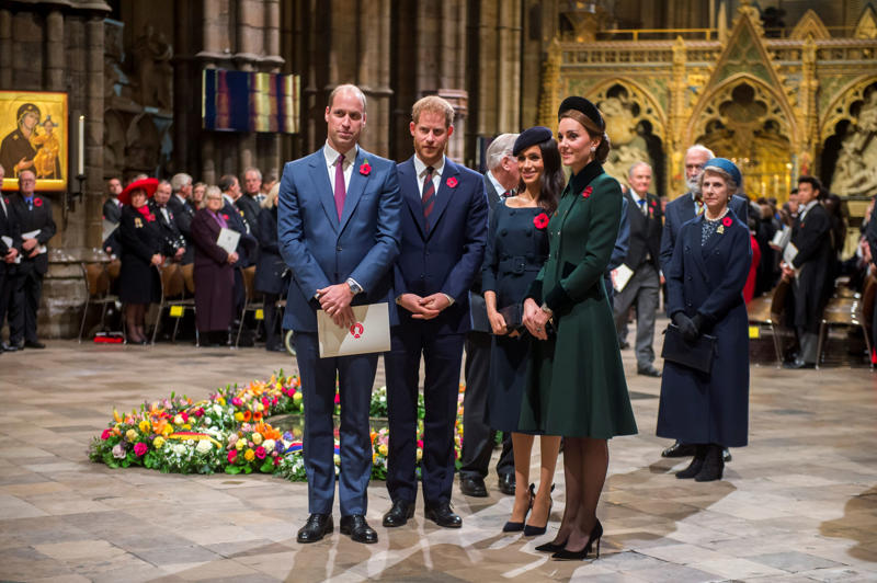 The Duke and Duchess of Cambridge and the Duke and Duchess of Sussex attend a National Service to mark the centenary of the Armistice at Westminster Abbey, London.