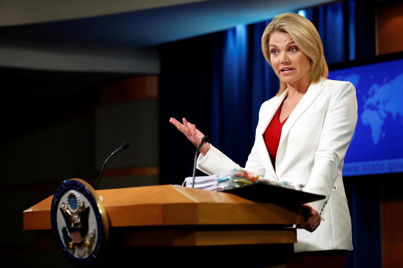 Heather Nauert is serving as the spokeswoman for the State Department.