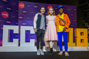 SAO PAULO, BRAZIL - DECEMBER 09: (L-R) Noah Schnapp, Sadie Sink and Caleb Mclaughlin attend the Netflix Original: Stranger Things panel at Comic-Con São Paulo on December 9, 2018 in Sao Paulo, Brazil. (Photo by Alexandre Schneider/Getty Images for Netflix)