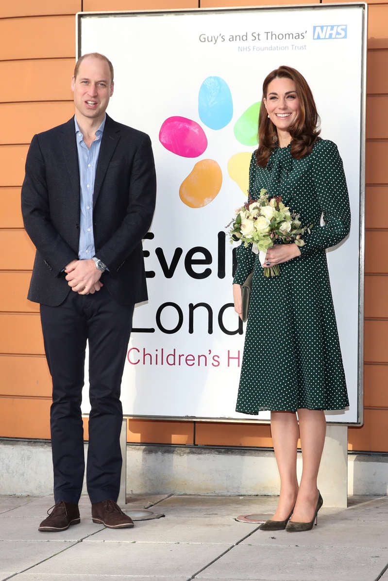 The Duke and Duchess of Cambridge arrive at Evelina Children's Hospital in London.