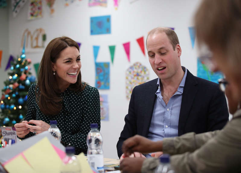 The Duke and Duchess of Cambridge take part in an arts and craft session with clients, during their visit to the homeless charity The Passage in London.